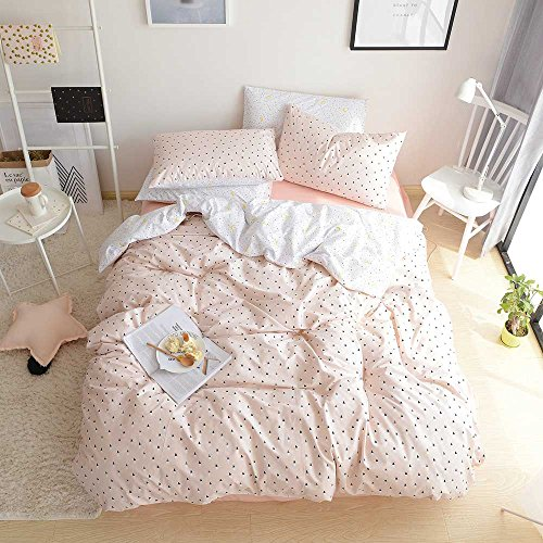 BuLuTu Black Triangle Girls Bedding Duvet Cover Set Twin Pink Cotton Premium Soft 3 Pieces Children Bedding Set Zipper Closure With Ties,Love Gifts for Her,Mom,Women,Sister,Friend,Family,NO Comforter (Twin Duvet Bedding)
