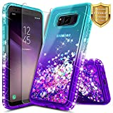 Galaxy S8 Active Case w/ [Tempered Glass Screen Protector], NageBee Glitter Liquid Quicksand Flowing Shiny Sparkle Bling Luxury Clear Cute Case for Samsung Galaxy S8 Active SM-G892 (Aqua/Purple)