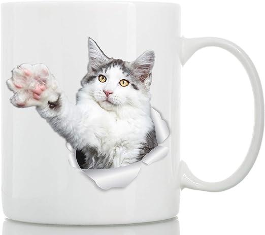 Taza de Gato Maine Coon Acercándose - Taza Gato Maine Coon Blanco ...