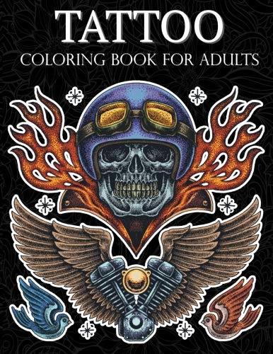 Tattoo Coloring Book: Handdrawn set of old school Stress Relieving Relaxing and Inspiration Adult Adult Coloring Pages