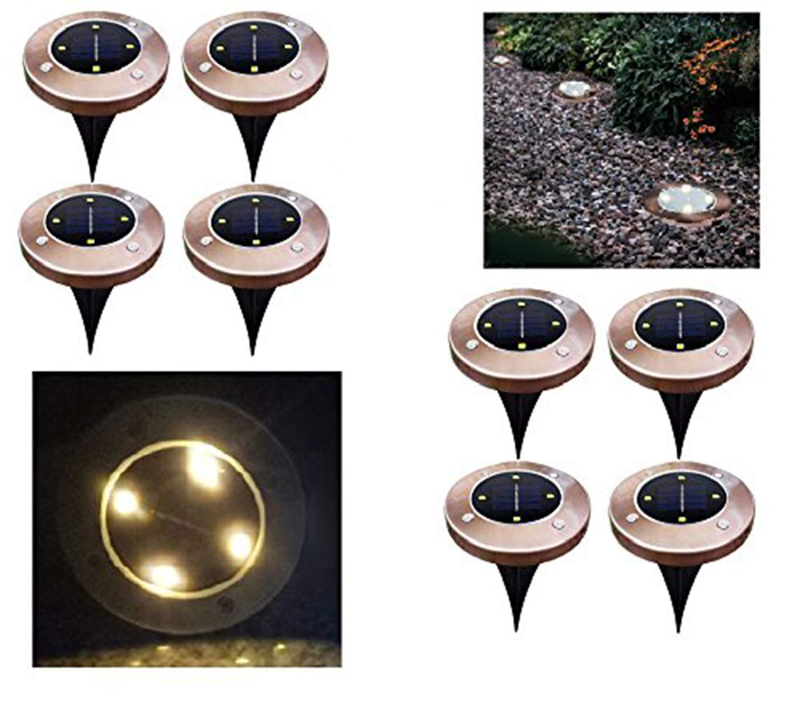 Bronze 4led Solar Ground Lights,8PCS Garden Pathway Lights Outdoor Waterproof Lamp Landscape Lighting for Driveway,Deck,Garden,Yard,Lawn - Warm
