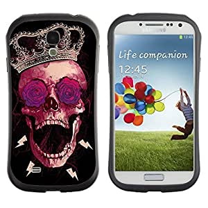 Hybrid Anti-Shock Bumper Case for Samsung Galaxy S4 / Cool Abstract Hipster Skull