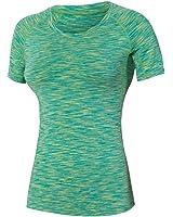 BOBORA レディース 高加圧弾力コンプレッション 吸汗速乾通気 ヨガ ジョギング トレーニング 健身 色柄スポーツシャツ 半袖Tシャツ