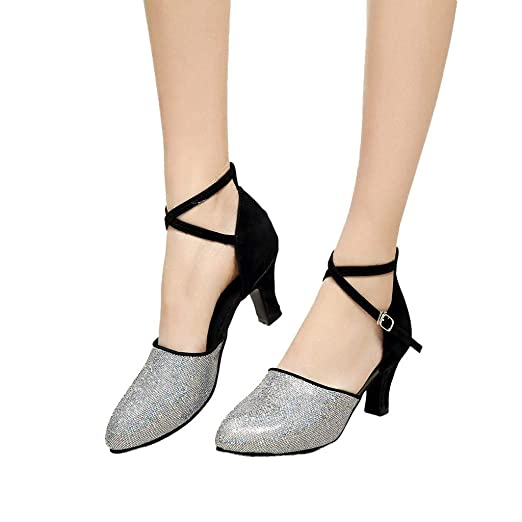 Womens Latin Dance Shoes Heeled Ballroom Salsa Tango Party Sequin Dance  Shoes (Black 7b32c57e757f