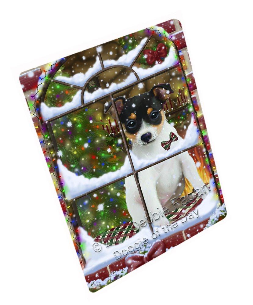 Please Come Home For Christmas Rat Terrier Dog Sitting In Window Art Portrait Print Woven Throw Sherpa Plush Fleece Blanket D120 (50x60 Plush)