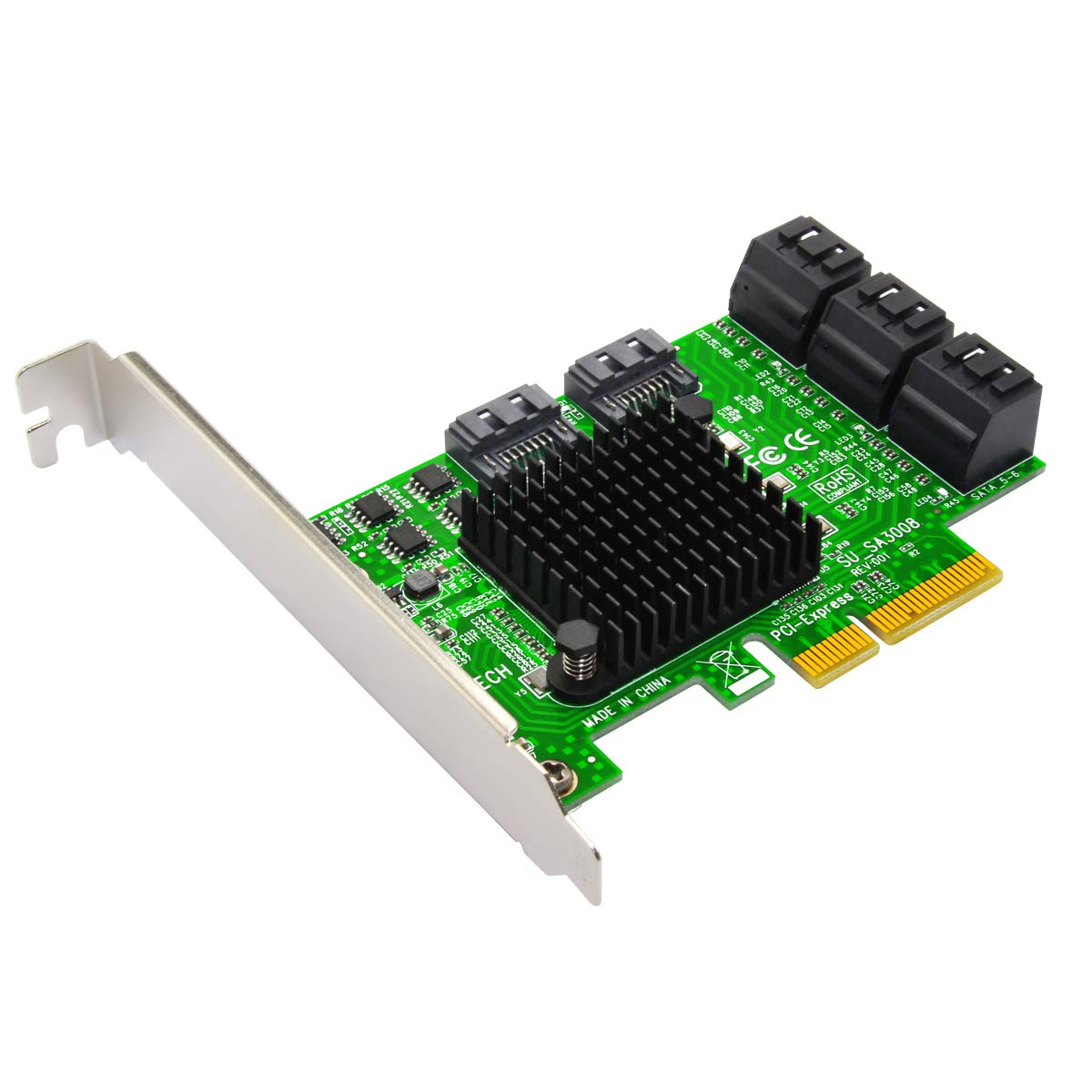 Expansion Card,Ubit Riser Card,PCIe 2.0 X2 to SATA III 8-Port Adapter Card (ASM Chipset) for IPFS Mining,Pci-e to SATA3.0 Expansion Card,SATA3.0 Riser Card 6G IPFS Hard Disk Expansion Card