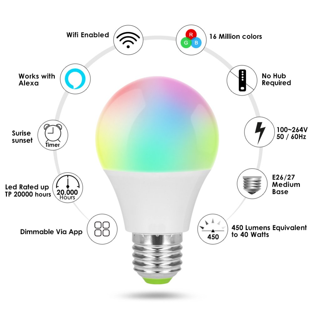 Smartphone Controlled Daylight Home Kitchen Lighting Dimmable Warm White and Color WiFi Voice Control Light Bulbs Wake up Lights Sleeping Night Light No Hub Required BEAYPINE