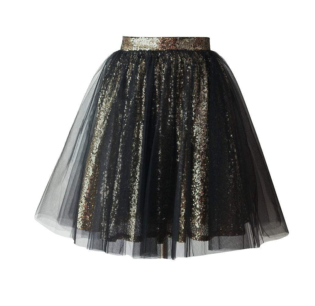 Blacksequin flowerry Women Tutu Tull Knee Length Skirt Wedding Bridesmaid Tutu Tulle Prom Skirt Pink