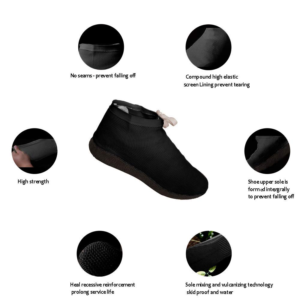 Henhaing Waterproof Shoe and Boot Covers Reusable and Portable Boot Shoe Covers|Rain Cover Dirt-Proof and Slip-Resistance Overshoes for Outdoor Protection|Made of Natural Rubber|Men Women Kids