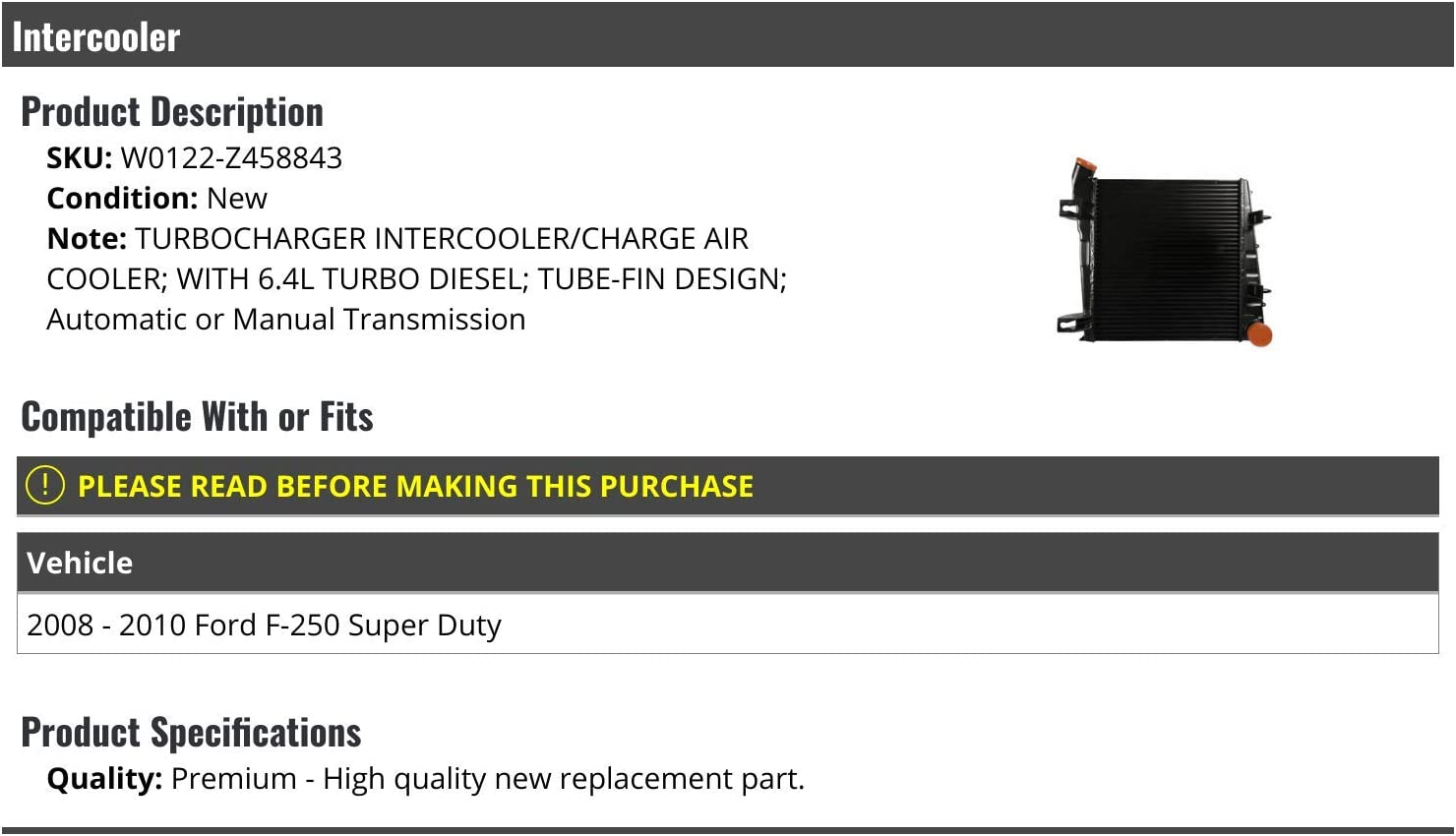 Turbo Intercooler Air Cooler Tube-Fin Design Compatible with 2008-2010 Ford F250 Super Duty 6.4L Turbo Diesel