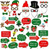 Christmas Photo Booth Props Kit(47Pcs), Konsait DIY Christmas Photo Booth with stick Funny Xmas Selfie Props Accessories for Adults Kids for Christmas Theme Party Favors Decorations Decor Supplies
