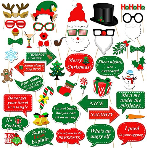 Christmas Photo Booth Props Kit(47Pcs), Konsait DIY Christmas Photo Booth with stick Funny Xmas Selfie Props Accessories for Adults Kids for Christmas Theme Party Favors Decorations Decor Supplies ()
