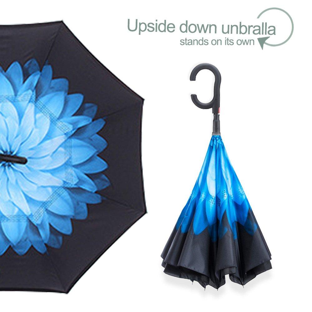 Bande Rose Auto Ouvert Parapluie Invers/é,Parapluie Canne,Double Couche Coupe-Vent Id/éal pour Voiture et Voyage Mains Libres poign/ée en Forme C