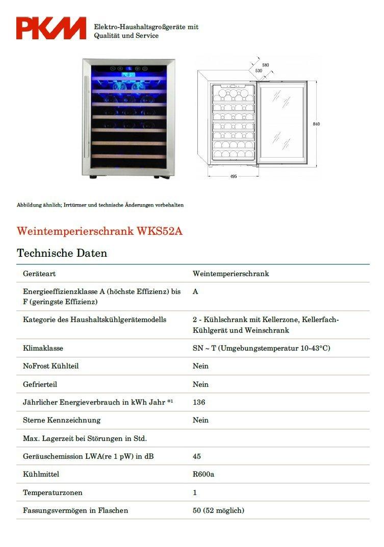 PKM Hausgeräte PKM Weinkühlschrank WKS52A bk: Amazon.de: Elektro ...