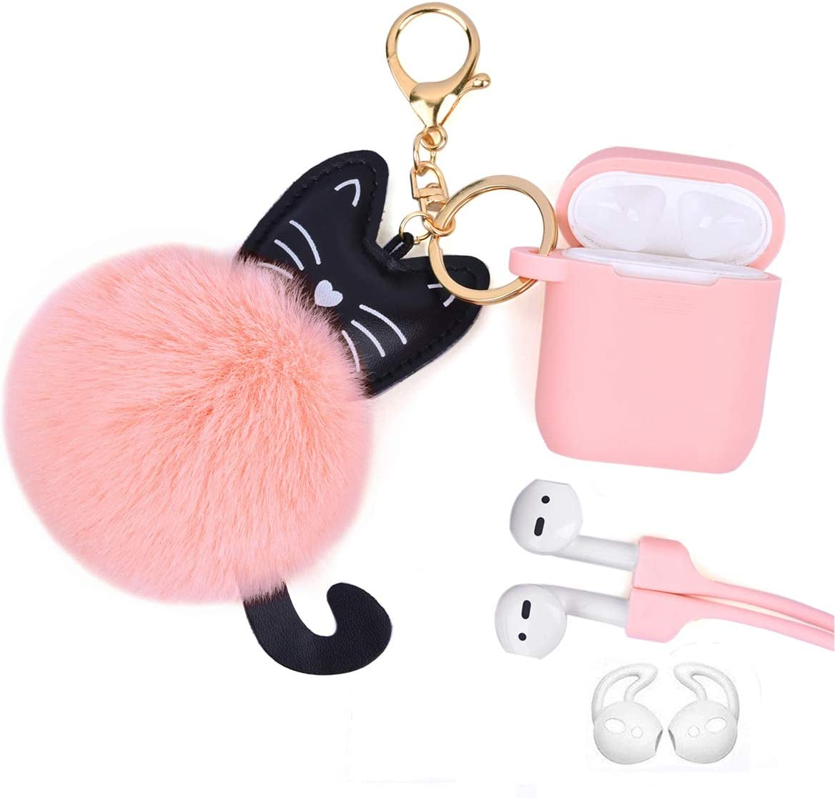 Airpods Case - Airspo Case for Airpods Silicone Case Cover Compatible with Apple Airpods 1/2 Protective Skin with Fur Ball Keychain/Anti-Lost Strap/Ear Hooks (Peach Pink)