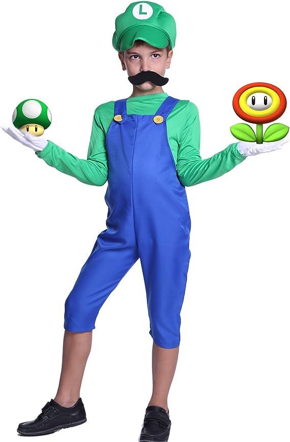 Disfraz de fontanero Super Mario Luigi con gorra, conjunto de ...