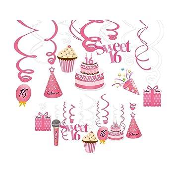 Sayala 30 Count Sweet Sixteen Swanging Swirls Sprial para la 16ª Fiesta de cumpleaños Feliz 16ª Fiesta de cumpleaños Decoraciones