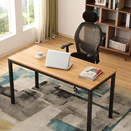 AUXLEY Modern Simple Computer Desk for Home Study, Waterproof and Anti-Scratch Double Deck Wood and Metal Office Table, 55'', Teak (Round Dining Quarter Table)