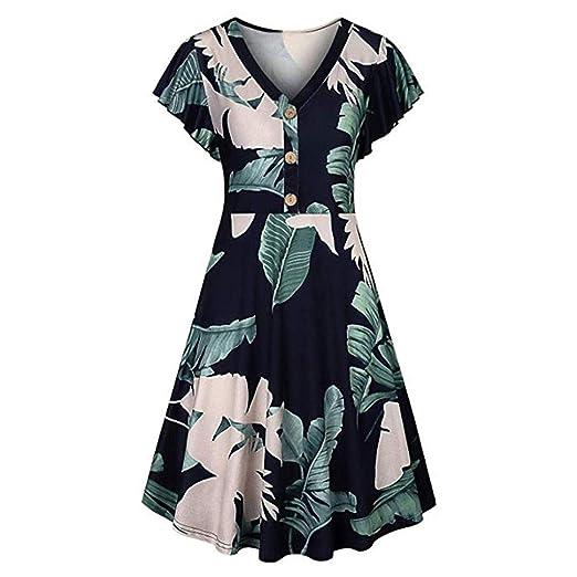 eec152a86dbff Summer Dress for Women V Neck Ruffle Sleeve Vintage Floral Print ...