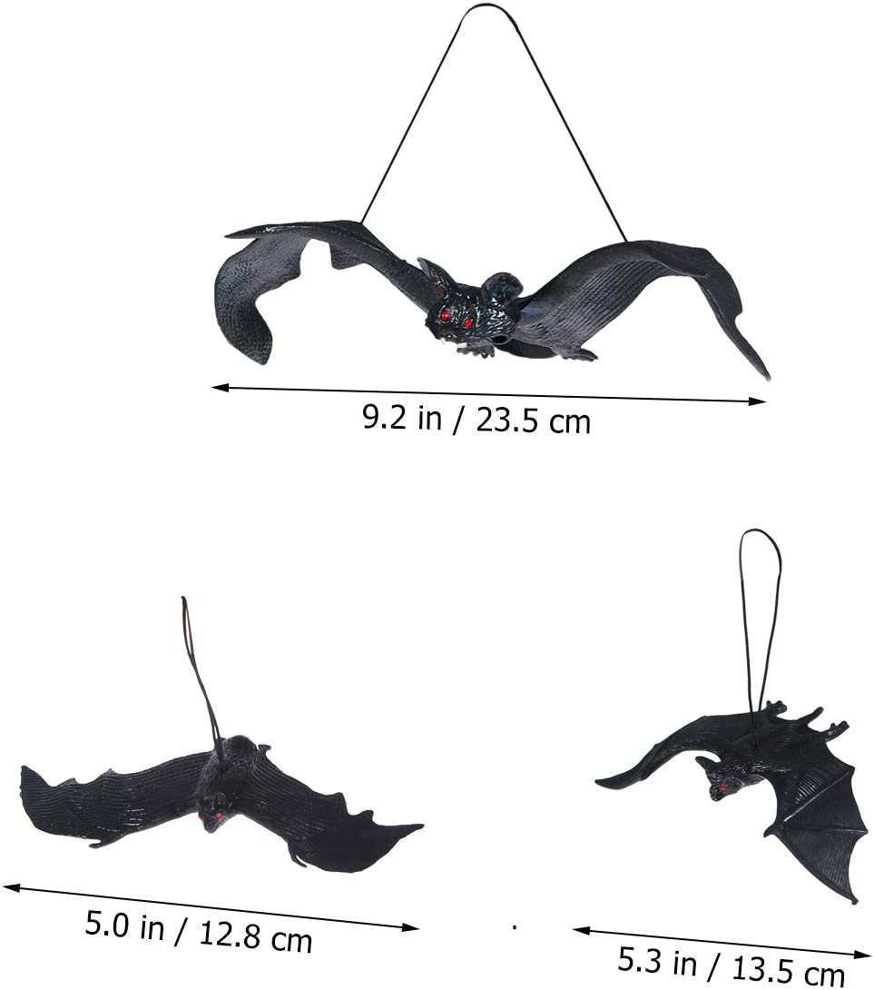 18PCS//Set NUOBESTY Halloween D/écor Set,Realistic Looking Spooky Nylon Hanging Bats Tool Set Interior Decoration Scary Props Set for Best Halloween Party Favors and Decoration Black
