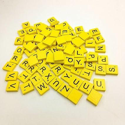 Amazon Com 100 Wooden Alphabets Block Set Scrabble Tiles A Z All