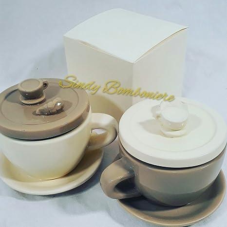 Bomboniere Ceramica Matrimonio.Bomboniera Zuccheriera Tazza Ceramica Matrimonio Bomboniera