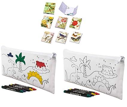 Lote de 30 Estuches para Colorear Infantiles Dinos con 4 Ceras Incluidas + 3 Libretas Bloc Notas Floral - Estuches con Pinturas para Pintar. Estuches ...