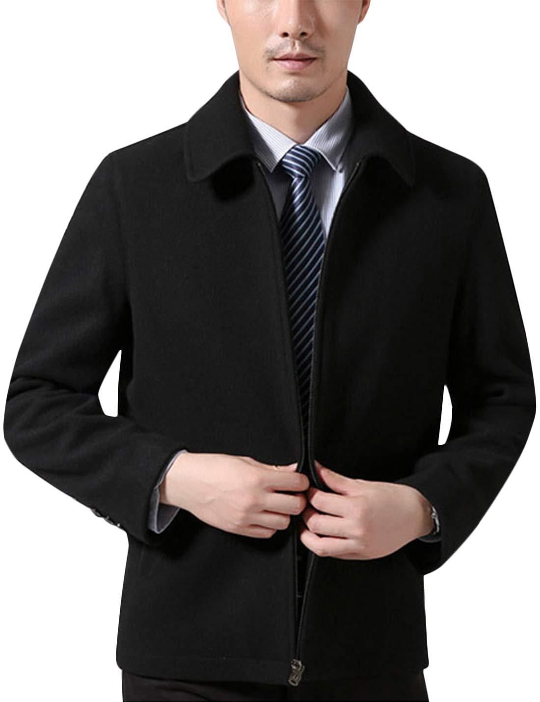 Tanming Mens Autumn Fashion Classic Lapel Zip up Wool Blend Short Coat Warm Jacket (Black, Medium)