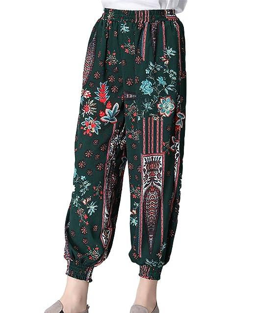 NiSeng Mujer Bohemia Bloomers Pantalones Casual Lino Pantalon Ancho Loose Harem Pantalones Verde M