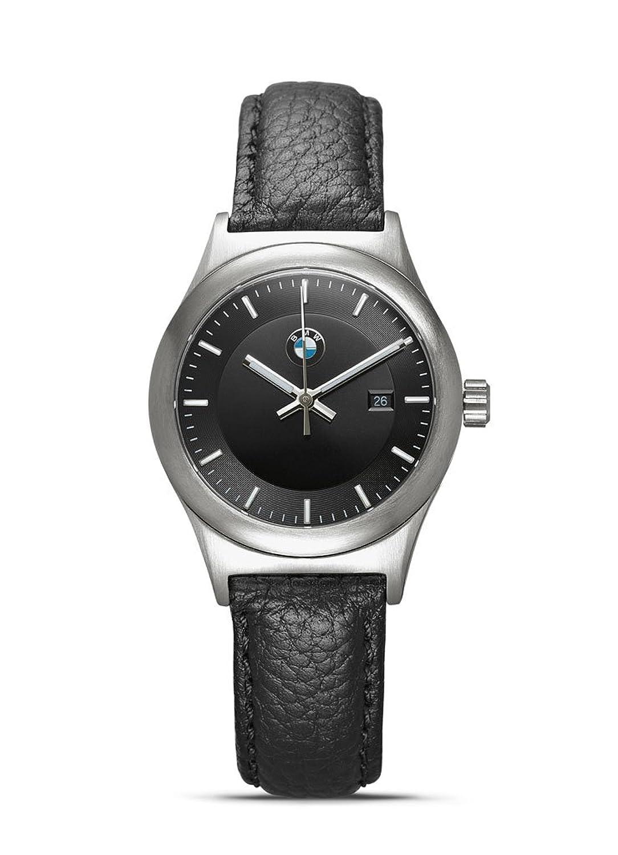 Original BMW Damen Armbanduhr Uhr 2014 Classic Edelstahl mit Armband Leder schwarz