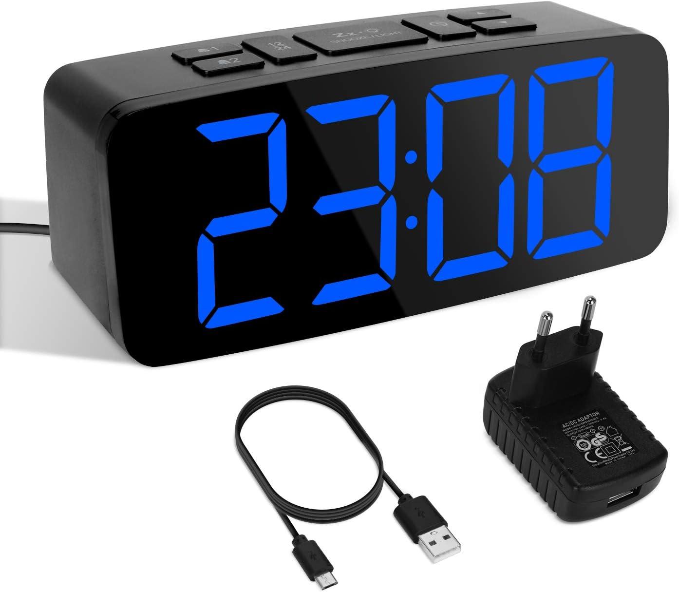 YISSVIC Despertador Digital LED Despertador Digital equipé de 2 alarmas función Snooze luminosidad Ajustable en 6 Niveles tamaños 12/24 Horas Version 2019