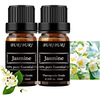 BURIBURI Jasmine Essential Oil Set - 2 Pack 100% Pure Organic Jasmine Essential Oils 10ML for Diffuser, Aromatherapy…