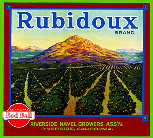 - A SLICE IN TIME Riverside Mt. Rubidoux Orange Citrus Fruit Crate Label Art Print