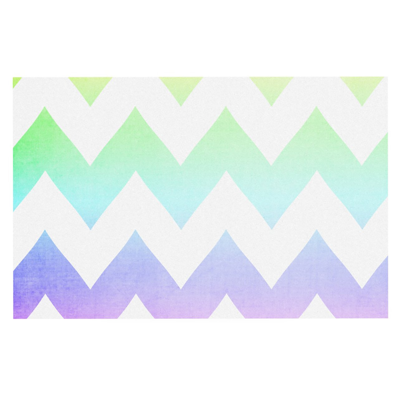 Kess InHouse Catherine McDonald Water Color Chevron Feeding Mat for Pet Bowl, 24 by 15-Inch