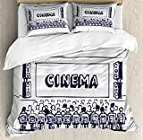 Ambesonne Movie Theater King Size Duvet Cover Set, Hand Drawn Illustration Audience Sitting in Theater Waiting the Movie, Decorative 3 Piece Bedding Set with 2 Pillow Shams, Navy Blue White