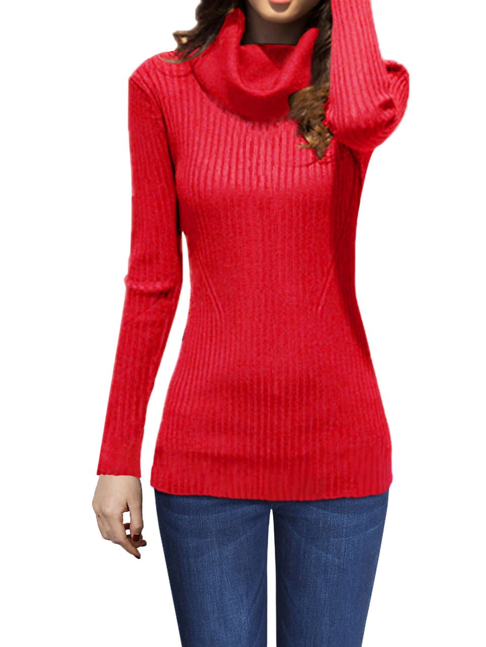 v28 Women Stretchable Cowl Neck Knit Long Sleeve Slim Fit Bodycon Sweater (X-Small, CowRed)