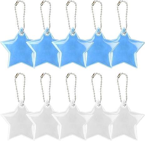 Plata y Azul Chaqueta und Cochecito de Bebe REYOK Colgante Reflectante Estrella Ambos Lados Reflectantes Visibilidad hasta 150 Metros Viene con una Cadena Colgante para Sujetar a una Mochila