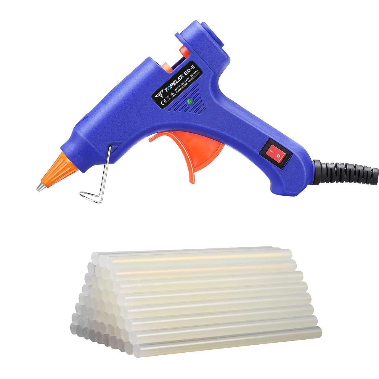 Hot Glue Gun, TopElek Mini Glue Gun Kit with 50pcs Glue Sticks, High Temperature Melting Glue Gun for DIY Small Projects, Arts and Crafts, Home Quick Repairs,Artistic Creation(20 Watts, Blue)