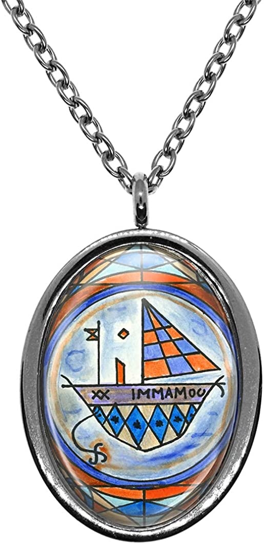 Travel Pets Silver Stainless Steel Pendant Necklace My Altar Met Agwe Veve for Voodoo Magick Protection