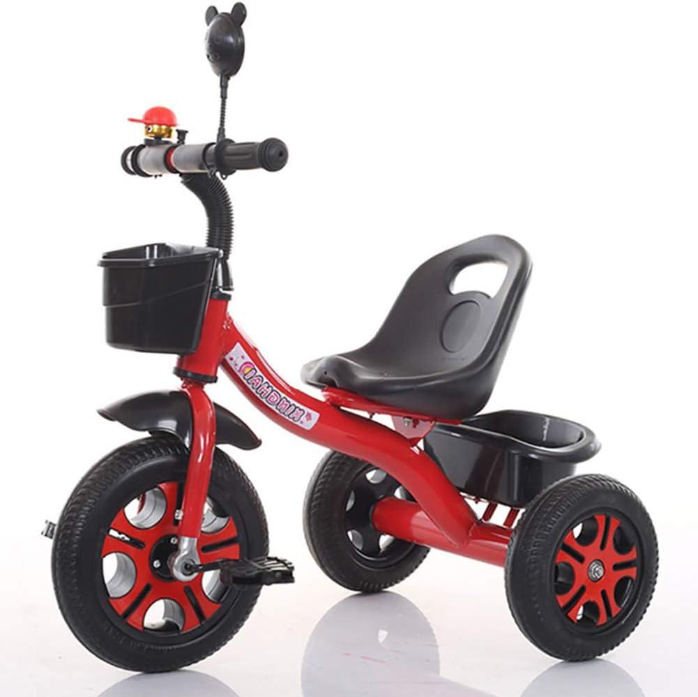 DDMD Triciclo de niños Marco de Acero de Alto Carbono Asiento Ajustable para niños Rueda de Pedal de 3 Ruedas, con neumático de Espuma y Cesta para niños de 1-6 años y niños pequeños - 90-120 CM,Red