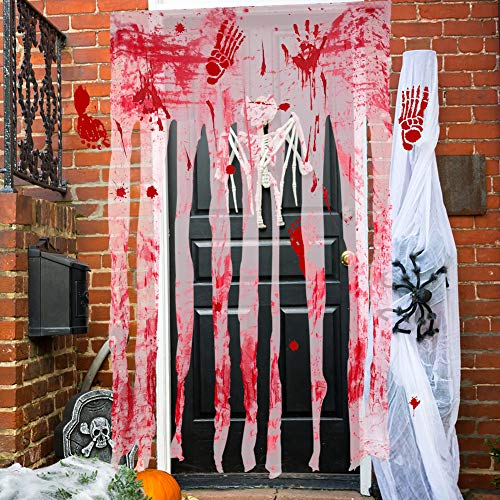 Halloween Door Curtain Decor, 3PCS Door Curtain Decor with Bloody Hand Prints Bloody Doorway Curtain and Window Decals Wall Stickers for Halloween House Horror Decor Vampire Zombie Theme Party Supply