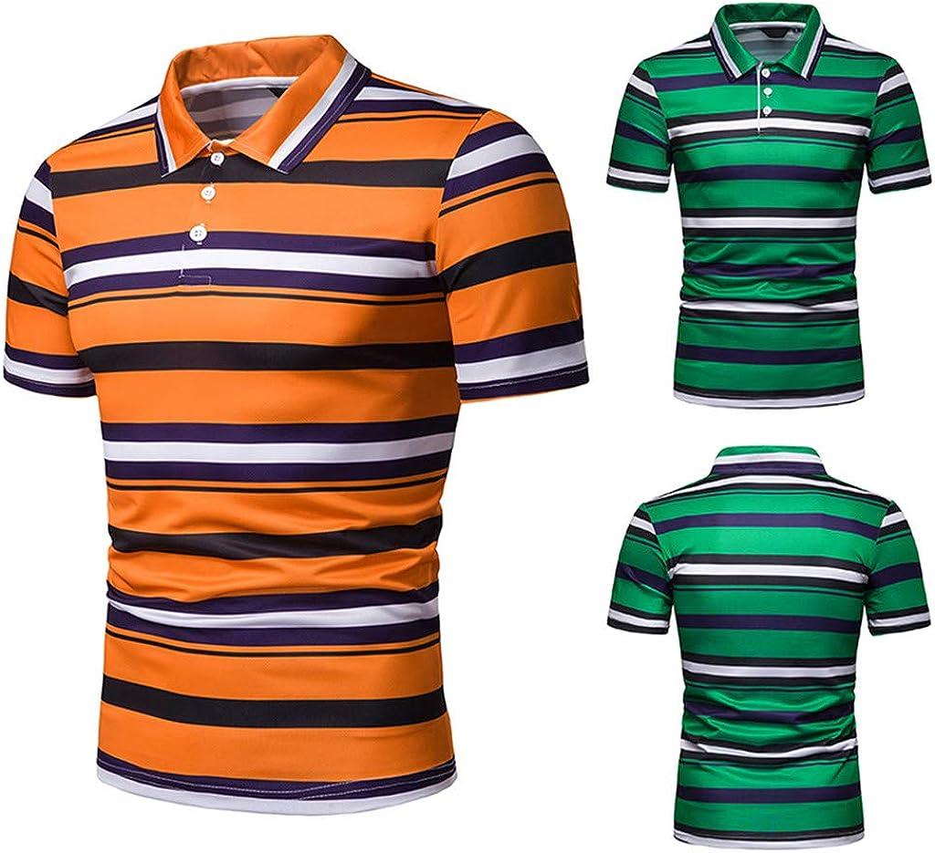 STORTO Mens Classic Stripe Pique Polo Shirts Short Sleeve Tee Shirts Casual Fashion Fit Tops