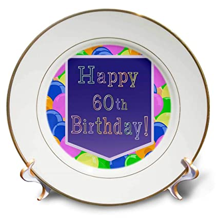 8 3dRose cp/_173075/_1 Balloons with Purple Banner Happy 60Th Birthday Porcelain Plate