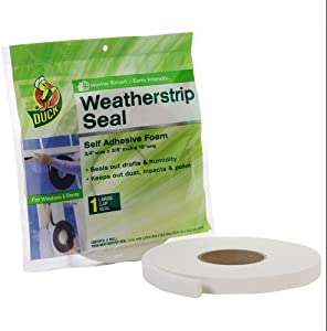 Duck Brand Self Adhesive Foam Weatherstrip Seal for Large Gaps, 3/4-Inch x 3/8-Inch x 10-Feet, 1 Roll, 1278972