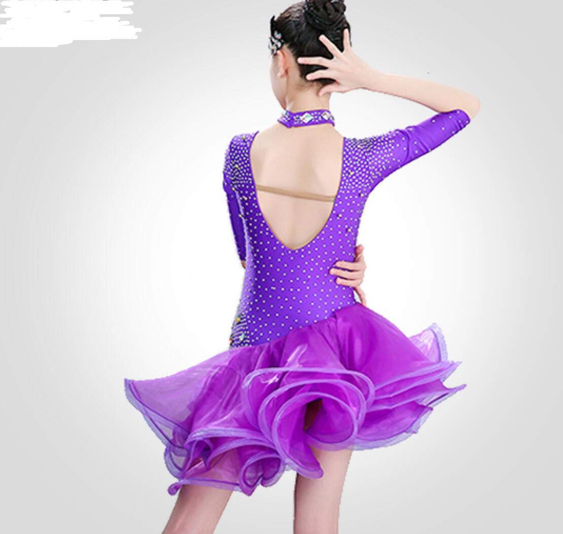 YZLL YZLL YZLL Latin Rumba Tanzkleid, Ballsaal Salsa Tanzkleid Kinder Kleid Tanzwettbewerb Kostüme Rot Lila B07PFQ51V4 Bekleidung Schön und charmant 748e84