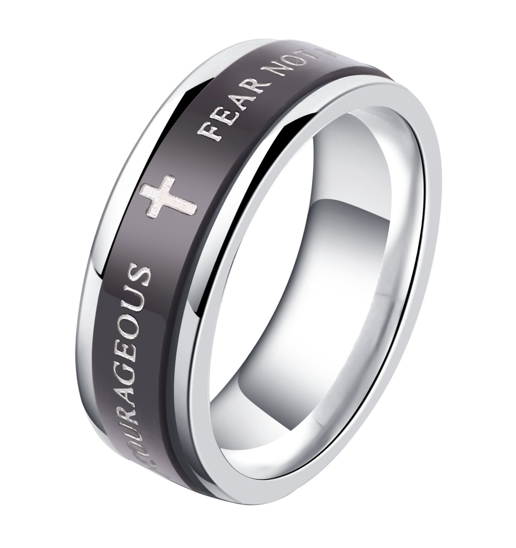 ALEXTINA 7MM Black Stainless Steel Bible Verse Isaiah 41:10 JOSHUA 1:9 Christian Ring Spinner Wedding Band Size 7