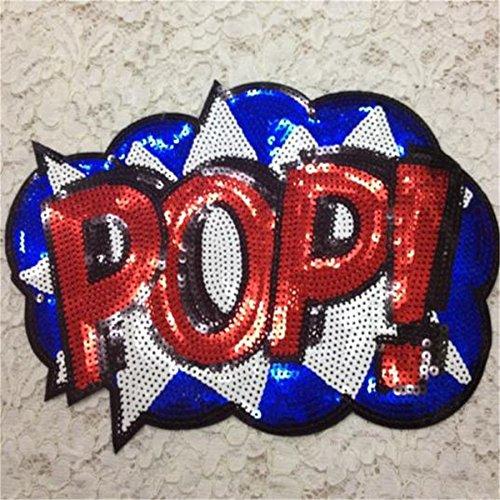 Sconosciuto Generic Abbigliamento Patch Abbigliamento Cucito & amp; Tessuto Simpatico Lettera Rosso Pop Logo, Paillettes Moda Ferro su Toppe per Abbigliamento Fai da Te spedizione Gratuita
