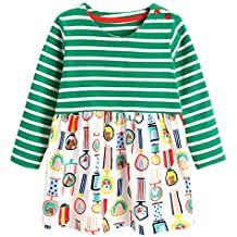 Lyxinpf Little Girls Cotton Dress Cute Animals Long Sleeve Dresses