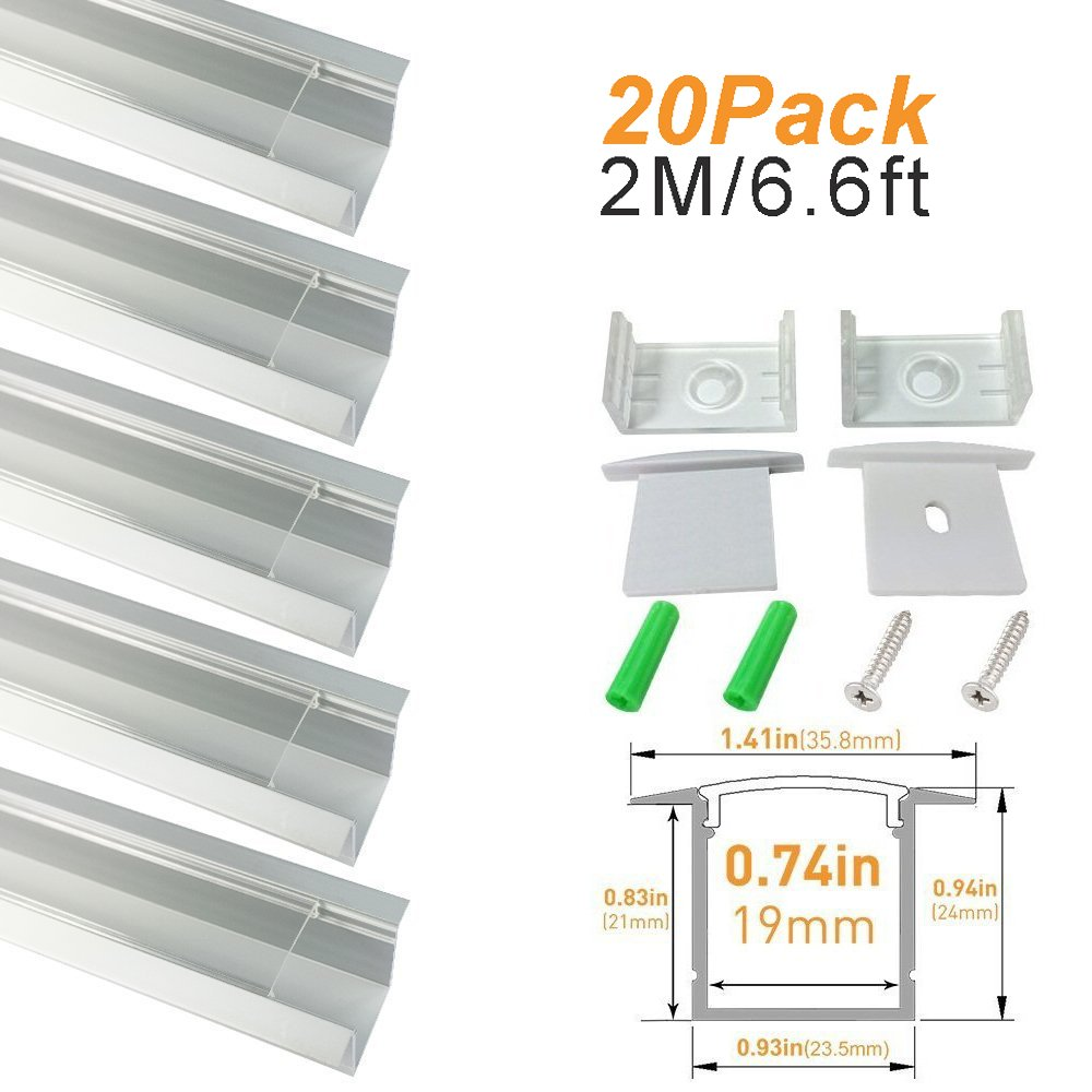 LightingWill Clear LED Aluminum Channel Spot Free U Shape 6.6Ft/2M 20 Pack Anodized Sliver Rails for <20mm 5050 3528 LED Flex/Hard Strip Lights with Covers, End Caps, and Mounting Clips TP-U05S20