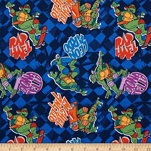 Fabric Teenage Mutant Ninja Turtles Skate Boarding Blue Yard